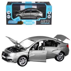 Машина метал «Lаda Vesta седан», 1:24, цвет серый, открываются двери, капот и багажник, световые и звуковые эффекты