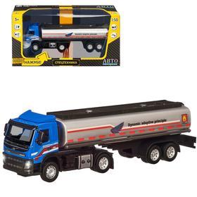 Машина металлическая «Volvo бензовоз» 1:50, цвет голубой ,откидная кабина, световые и звуковые эффекты