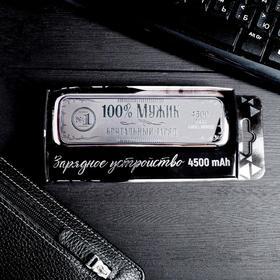 Портативный аккумулятор «100% мужик», 4500 mAh, 3,5 х 13 см