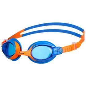 Очки для плавания FASHY Spark 1, синие линзы, нерегулируемая переносица, синий/оранжевый