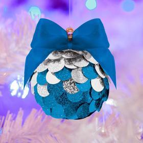 Набор для творчества. Создание новогоднего шара «Зимние узоры» с пайетками