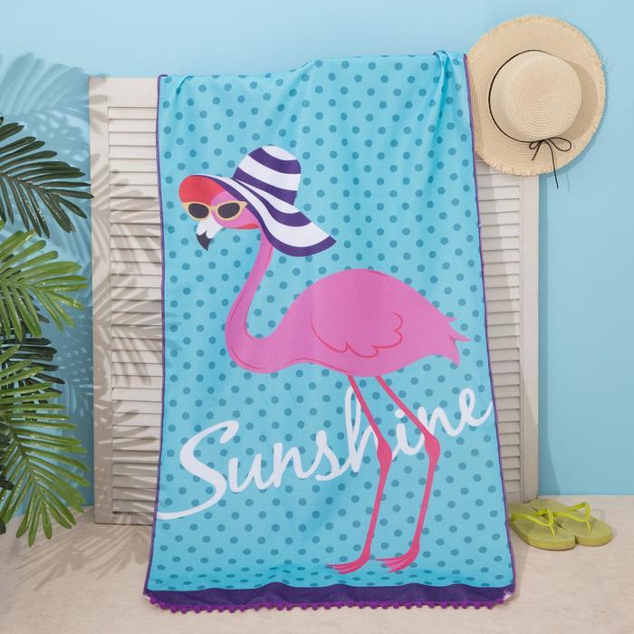 """Полотенце пляжное Этель """"Фламинго"""", 75*140 см, микрофибра, 100% п/э"""