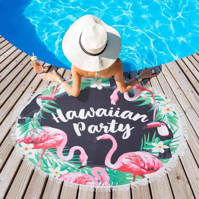 """Полотенце пляжное Этель """"Гавайская вечеринка"""", d 150 см, микрофибра, 100% п/э"""