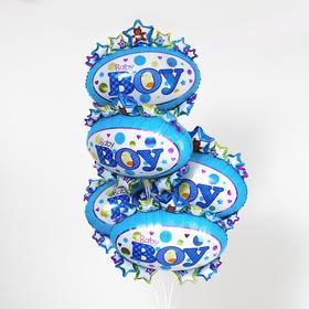 """Шар фольгированный 24"""" «Малыш», сердца и овал, набор 5 шт., цвет голубой"""