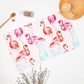 Полотенце саржа Фламинго 35х60 см, розовый, хлопок 100%, 168г/м2