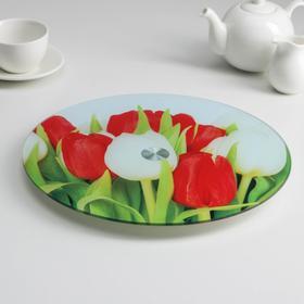 Подставка для торта вращающаяся Доляна «Тюльпаны», d=32 см