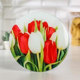 Доска разделочная Доляна «Тюльпаны», d=20 см
