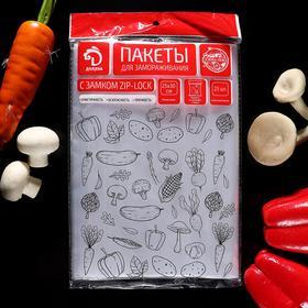 Пакет для заморозки с защелкой «Доляна», 25×30 см, 25 шт в п/п