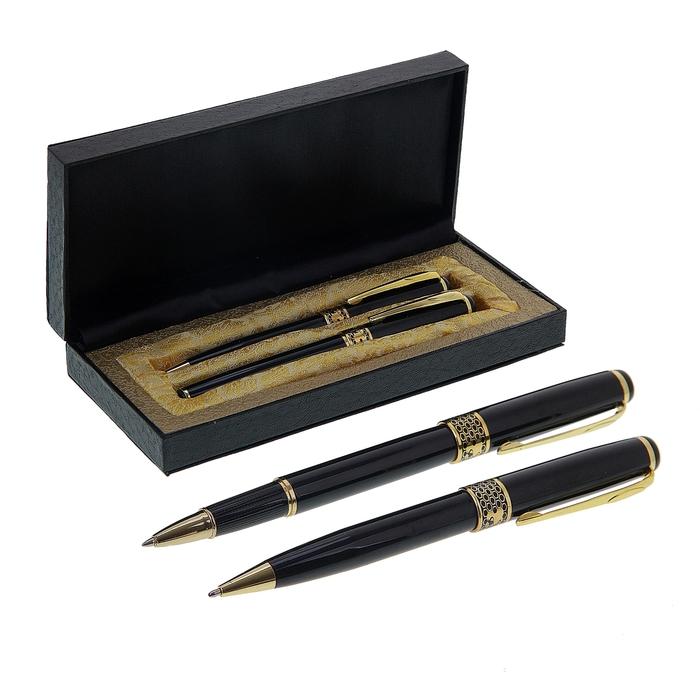 Ручки подарочные, 2 шт.: капиллярная, шариковая поворотная, в кожзам футляре, «Империя», чёрные - фото 797595135