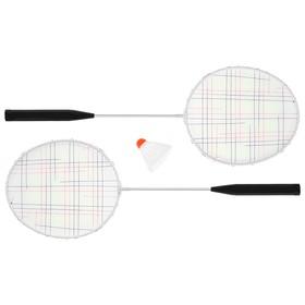 Бадминтон, набор 3 предмета: 2 металлические ракетки, волан, цвета МИКС Ош