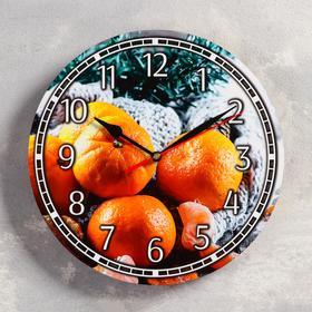 """Часы настенные, серия: Новый год, """"Мандарины"""", d=24 см, плавный ход, микс стрелки"""