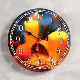 """Часы настенные, серия: Новый год, """"Свечи"""", d=24 см, плавный ход"""