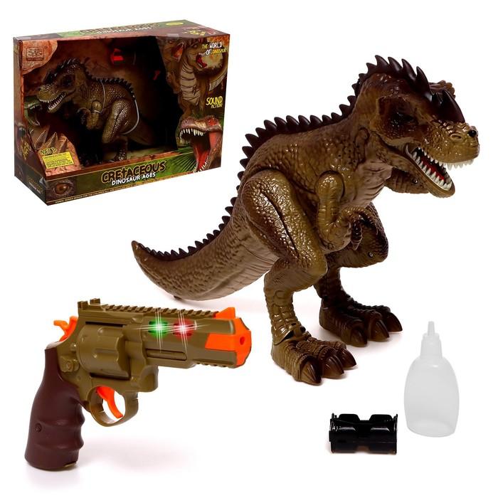 Динозавр «Тираннозавр», трансформация, пистолет, эффект дыма, свет и звук, цвет МИКС