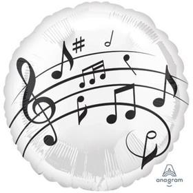 """Шар фольгированный 18"""" «Музыкальные ноты», на белом фоне, круг"""