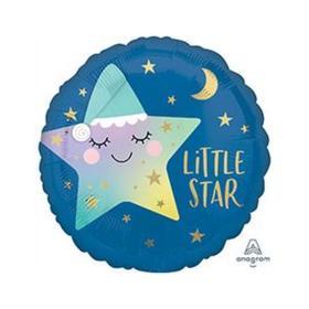 """Шар фольгированный 18"""" Little star, звёздочка спящая, круг"""