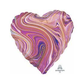 """Шар фольгированный 19"""" «Мрамор», сердце, цвет фиолетовый"""