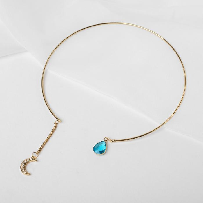 """Колье """"Ноэль"""" месяц, цвет бело-голубой в золоте, d=13 см - фото 496560"""
