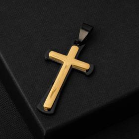 """Подвеска """"Крест"""" стальной, двойной, цвет чёрно-золотой, L=5,5 см"""