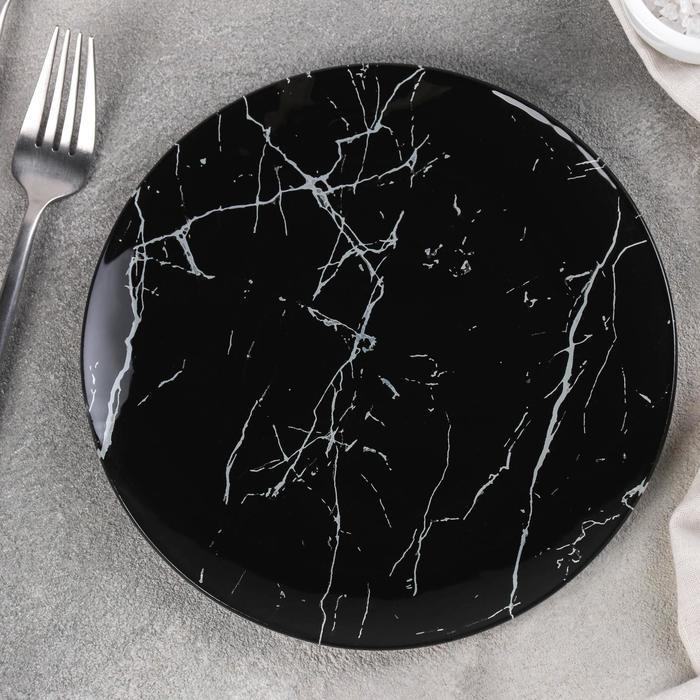 """Dinner plate """"marble black"""" 20X1, 3 cm"""