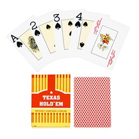 Карты игральные пластиковые, 55 шт, 32 мкм, 9×6.6 см, красная рубашка