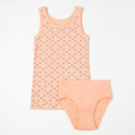 Комплект (майка, трусы) для девочки, цвет коралловый, рост 104 см