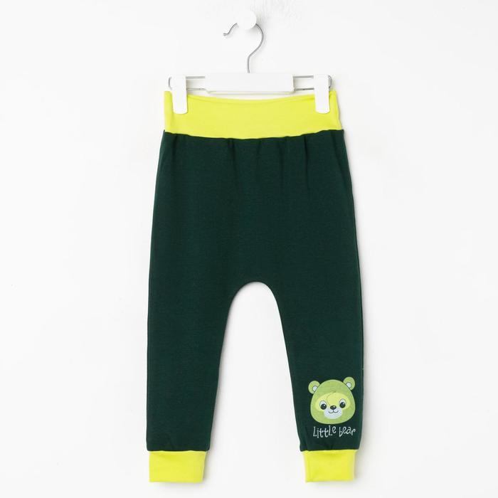 Штанишки детские, цвет тёмно-зелёный, рост 86 см - фото 2030995