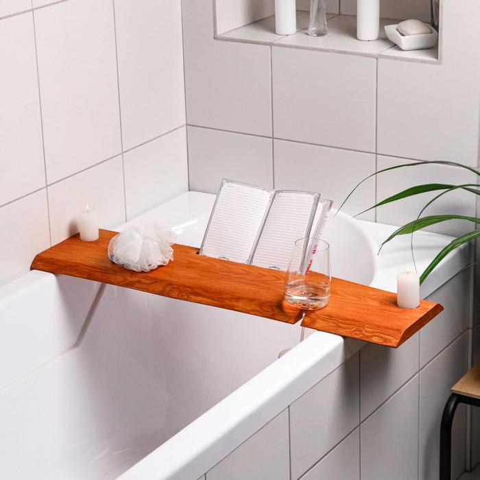 Столик на ванну деревянный, накладная, с вырезом для гаджетов, ясень, 80х20х2 см