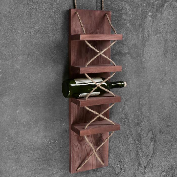 """Полка винная """"Бриссен"""", тёмная, 18,5×11×70 см"""