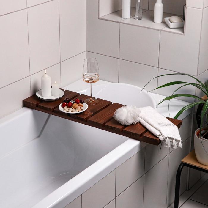 """Столик на ванну деревянный """"Натурал"""" накладной, тёмный, 80×24×5 см"""