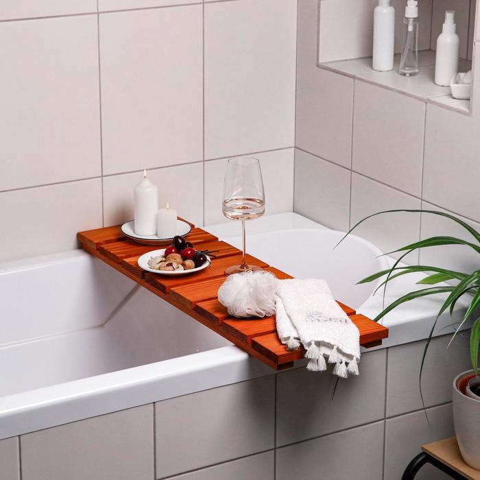 """Столик на ванну деревянный """"Натурал"""" накладной, светлый, 80×24×5 см"""