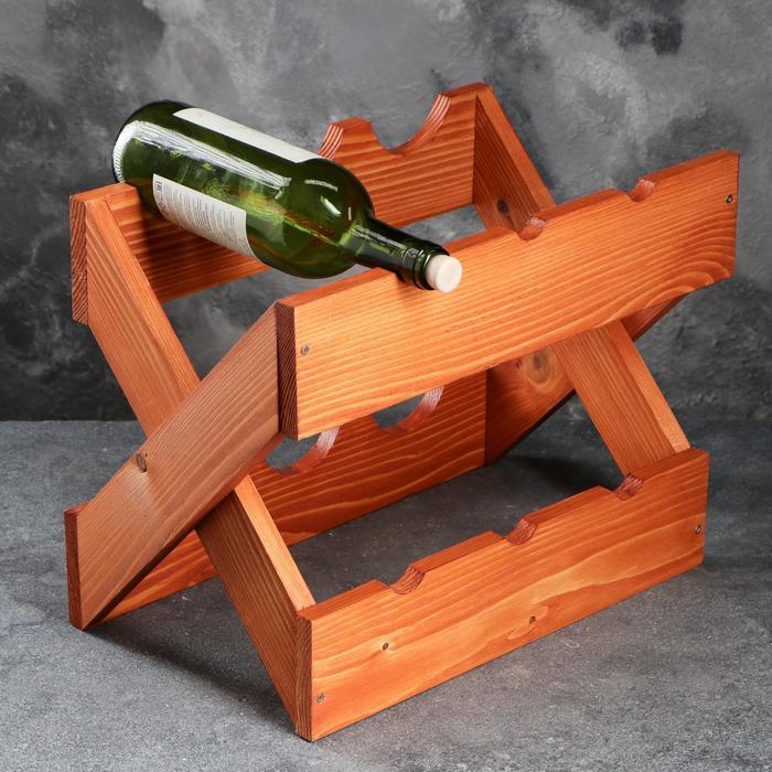 """Подставка для вина настольная """"Диагональ"""", светлая, 40 х 24 х 30 см"""