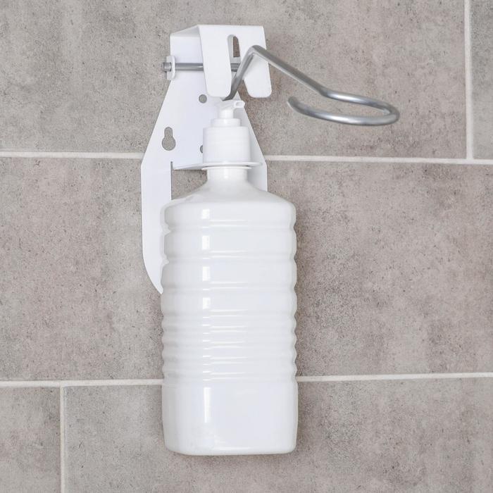 Дозатор для антисептика локтевой, 1 л, с держателем, цвет белый
