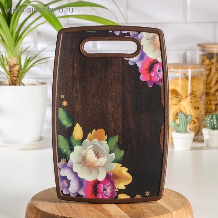"Rectangular cutting Board 30x20 cm "" Flowers and wood"""
