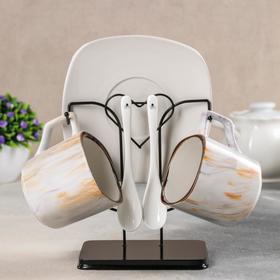 {{photo.Alt || photo.Description || 'Набор чайный «Мрамор», 6 предметов: 2 чашки 200 мл, 2 блюдца 14,7 см, 2 ложки, на металлической подставке'}}
