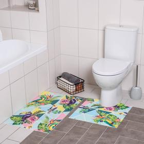 Набор ковриков для ванны и туалета «Джунгли», 2 шт: 50×50, 50×80 см
