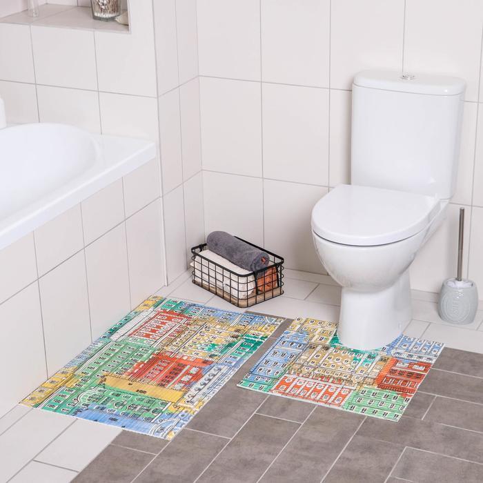 Набор ковриков для ванны и туалета «Сицилия», 2 шт: 50×50, 50×80 см
