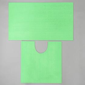 Набор ковриков для ванны и туалета «Моно зелёный», 2 шт: 50×50, 50×80 см - фото 4653246