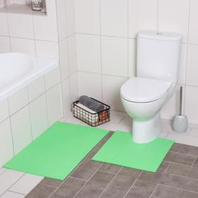 Набор ковриков для ванны и туалета «Моно зелёный», 2 шт: 50×50, 50×80 см