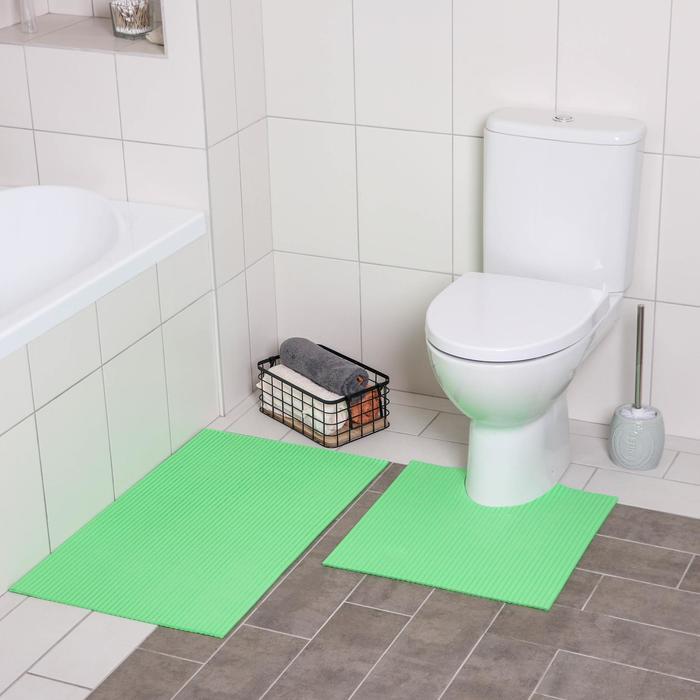 Набор ковриков для ванны и туалета «Моно зелёный», 2 шт: 50×50, 50×80 см - фото 4653245