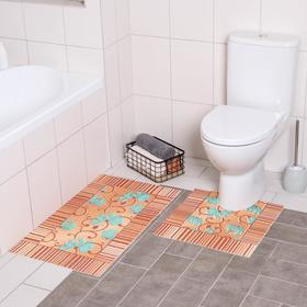 Набор ковриков для ванны и туалета «Листья бежевые», 2 шт: 50×50, 50×85 см
