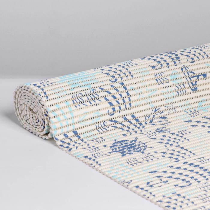 Коврик ПВХ «Морские знаки», 0,65×2 м, цвет белый