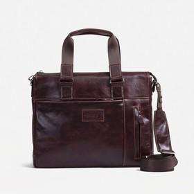 Сумка деловая, отдел на молнии, наружный карман, длинный ремень, цвет коричневый