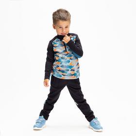 Толстовка спортивная с начёсом для мальчика, цвет синий, 104-110 см (110)