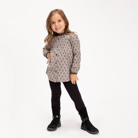 Блузка (рубашка) для девочки, цвет серый, 104-110 см (110)