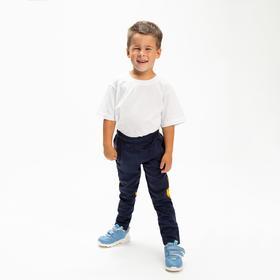 Брюки спортивные для мальчика, цвет синий/жёлтый, 104-110 см (110)