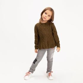 Джемпер для девочки, цвет хаки, рост 128-134 см (130)