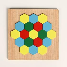 "Puzzle ""Build shapes and patterns"", hexagons"