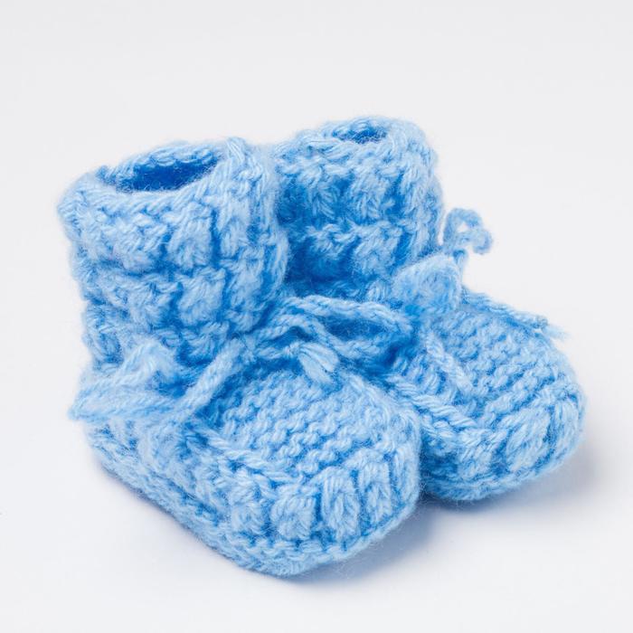 Пинетки детские, цвет голубой, размер 12 ( до 1 года) - фото 76590775