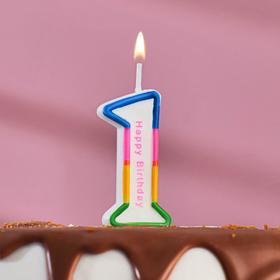 """Свеча восковая для торта """"Цветная полосочка"""" цифра 1"""