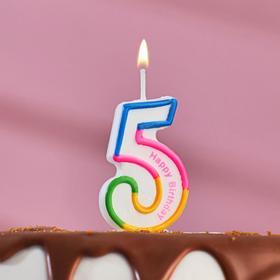 """Свеча восковая для торта """"Цветная полосочка"""" цифра 5"""